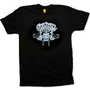 Image of MUSTACHE RIDERS - men's black/blue t-shirt
