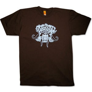 Image of MUSTACHE RIDERS - men's brown/blue t-shirt