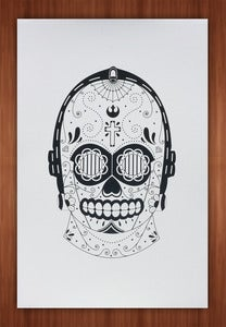 Image of C3P0 Sugar Skull Print