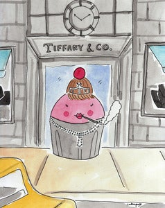 Image of Cupcake at Tiffany's Print by CakeSpy