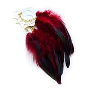 Image of Ear cuff with red rooster feathers and 5 gold-plated crosses