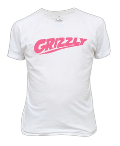 Image of WHITE/PINK GRIZZLY TEE
