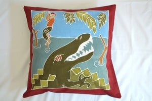 Image of Boys Safari Crocodile Surprise Handpainted kids cushion