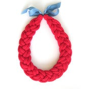 Image of Plait Necklace, hand-knitted - Red