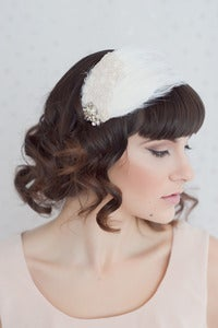 Image of Lacey feather headband with vintage rhinestones