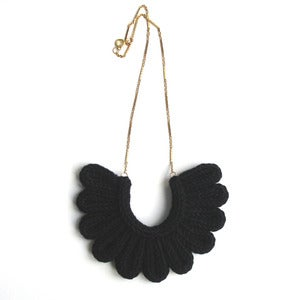 Image of Hawk Necklace, hand-knitted - Black