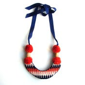 Image of SOLD - Mountain Necklace, hand-embroidered - Red