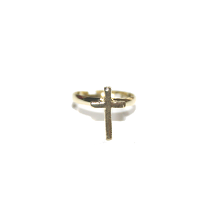 Image of Cute Gold Coloured Cross Ring