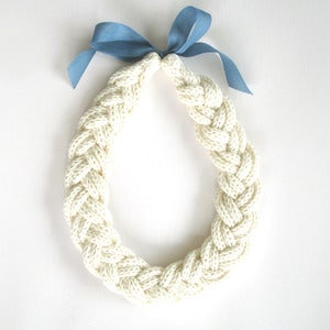 Image of Plait Necklace, hand-knitted - Off-White