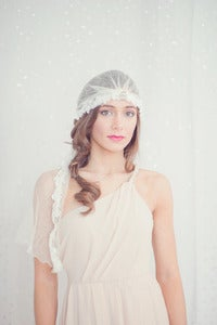 Image of Silk tulle bridal cap with vintage brooch and alencon lace