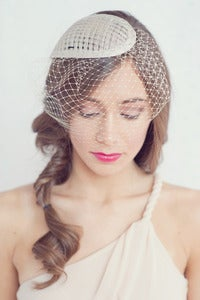 Image of Simple tear drop hat with attached birdcage blusher veil