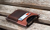 Image of Football grain &amp; Horween Chromexcel iPhone cardholder/sleeve 