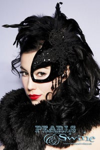 "Image of ""SpellBound"" Half Mask Fascinator Black Velvet Lace Feather Masked Ball Accessories"