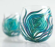 Image of Peacock Stemless Glasses-Set of 2