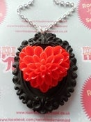 Image of Large Heart Flower Valentine Resin Cameo Black & Red Necklace