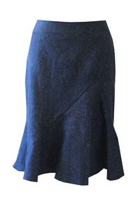 Image of Zigzag Tulip Skirt in Organic Hemp Denim