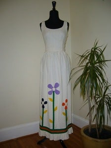Image of 70s cream maxi dress w/ flower appliqué