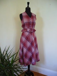 Image of 70s pink plaid vest & skirt suit