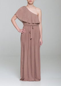 Image of One Shoulder Pleated Maxi Dress