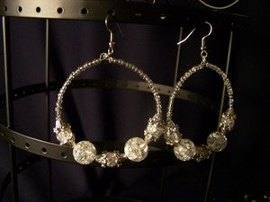 Image of Sparkling Glass Hoops - Clear/Silver