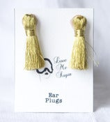Image of Breakfast at Tiffanys short tassel earplugs gold or silver lurex