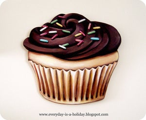 Image of JUMBO Chocolate frosted Cupcake wood diecut
