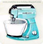 Image of JUMBO Aqua Vintage Mixer wood diecut