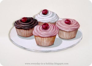 Image of JUMBO cherry topped plate of cupcakes wood diecut
