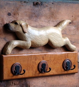 Image of Rustic Labrador Retriever Coat Rack
