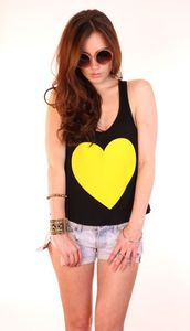 Image of Neon Yellow Heart Tank