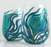 Image of Peacock Stemless White Wine Glasses-Set of 2
