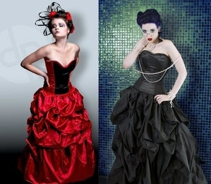 Image of La Belle Plume Noir Gown in Satin or Silk Taffeta (many color choices)