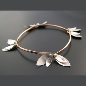 Image of Bamboo Bracelet - Skinny Leaves - Rose Gold Filled
