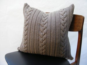 Image of Hand Knit Cushion 50 x 50cm - grey knot cable