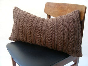 Image of Hand Knit Cushion 40 x 70cm - chocolate cable knit