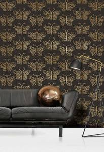 Image of Camberwell Beauty Wallpaper - Jet & Gold