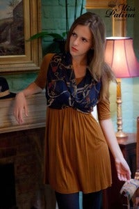 Image of 'Modern Classic' Scarf Front Jersey Dress (Brown)
