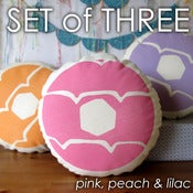 Image of SET OF THREE Iced Ring Screen Printed Cushions
