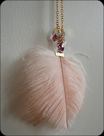 pretty please dear  misskk- pink feather necklace :  necklace pretty feathers statement