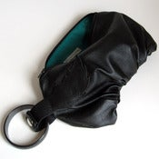 Image of Black Leather Wristlet Handbag