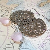 Image of Sea Glass Filigree Earrings in Pale Pink inspired by Anthropologie