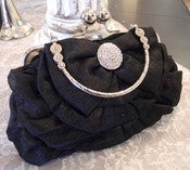 Image of Black ruffle handbag