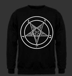 Image of Satan Pentagram White Print on Black Sweatshirt