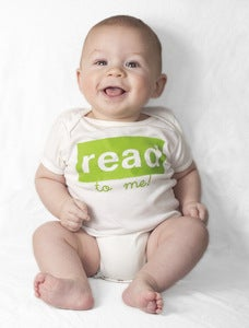 Image of read to me baby tee & onesie, white/grass