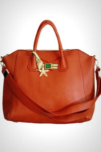 Image of 'Sea Star Shells' Tawny Leather Career Bag
