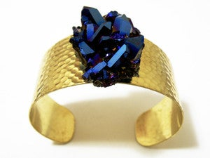 Image of Dark Matter Quartz and Brass Cuff