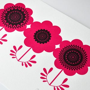 Image of Red Anemones - Hand Pulled, Signed, Gocco Screen Print