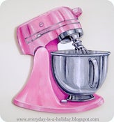 Image of JUMBO PINK Vintage Mixer wood diecut