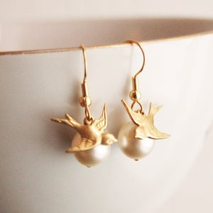Pearl and Bird Earrings