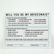 Image of &quot;The Contract&quot; Will You Be My Bridesmaid Cards